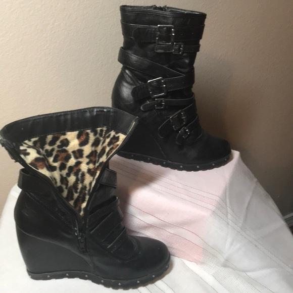 362439ea7809 Dollhouse Shoes - Dollhouse Wedge fancy Biker boots